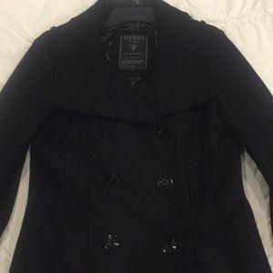 Long black guess pea coat